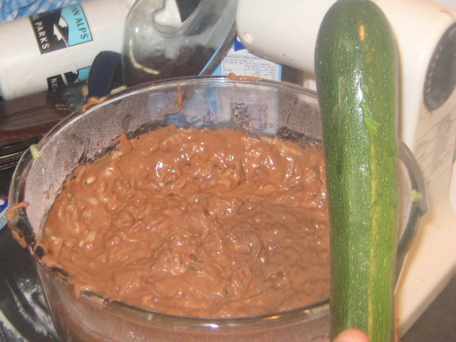Cake mixture, can you believe that zucchini is in there