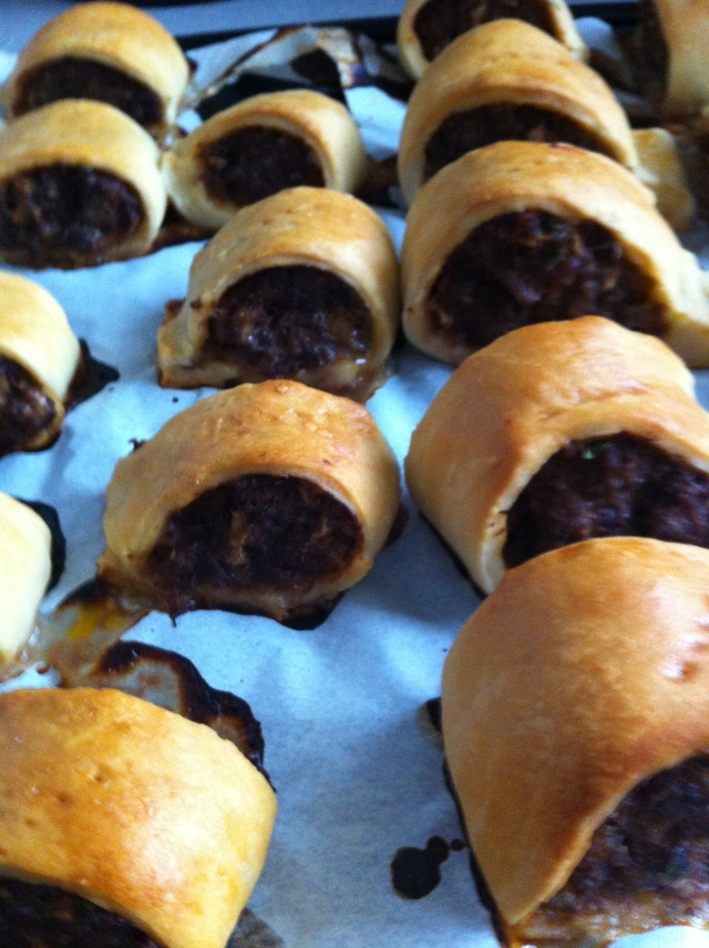 Cooked Venison sausage rolls