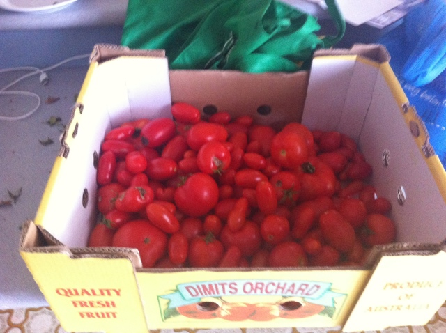 a box full of tommies - ripening in a dark cupboard
