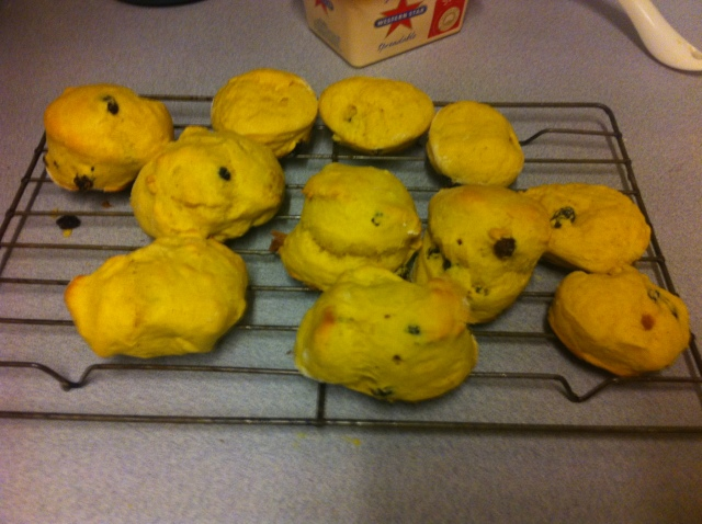 Pumpkin Scones with raisens